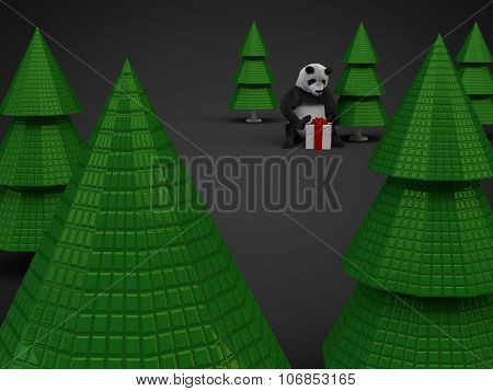 Christmas Panda Bear Gift Presentation Box Trees Isolated On Dark Background