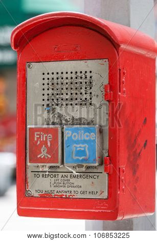 Emergency box on the street in New York City