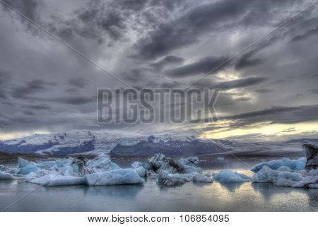 Ice blocks going to the ocean in Jokulsarlon in the south of Iceland