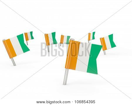Square Pins With Flag Of Cote D Ivoire