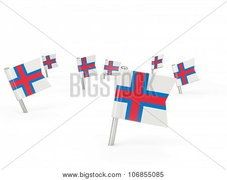 Square Pins With Flag Of Faroe Islands