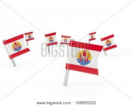 Square Pins With Flag Of French Polynesia