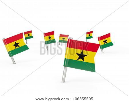 Square Pins With Flag Of Ghana