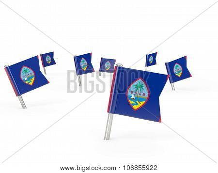 Square Pins With Flag Of Guam