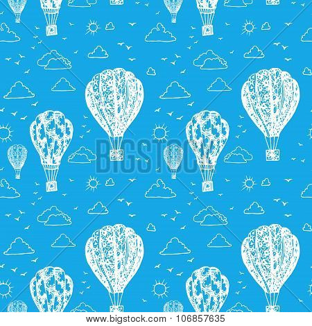 Blue seamless pattern with balloons