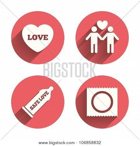 Condom safe sex icons. Lovers Gay couple sign.