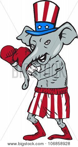 Republican Mascot Elephant Boxer Boxing Cartoon