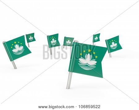 Square Pins With Flag Of Macao