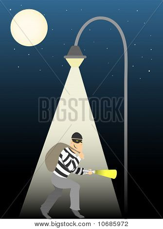 Thief Creeping Under Full Moon Street Lamp