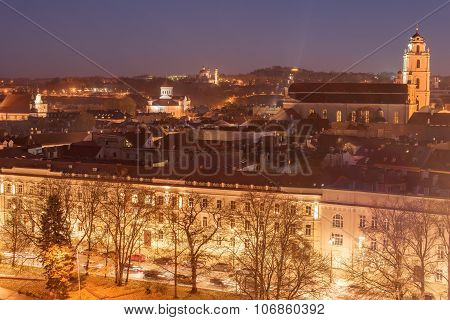 Aerial night view of Old Town in Vilnius, Lithuania