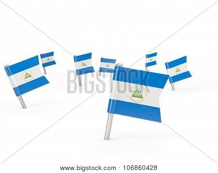 Square Pins With Flag Of Nicaragua