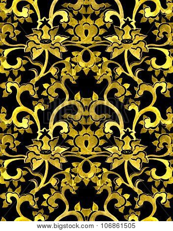 Repeat floral ornamental pattern with chinese golden flowers