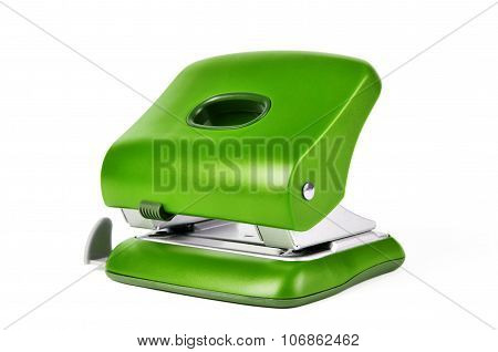 Green New Office Paper Hole Puncher Isolated On White Background
