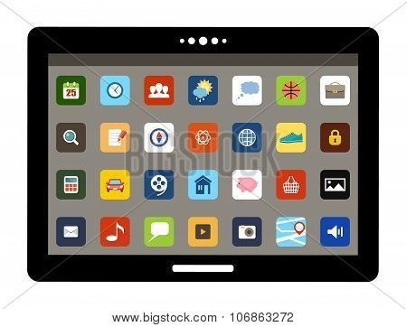 Tablet With Colorful Application Icons