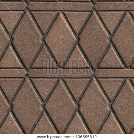 Brown Paving Slabs Built of Rhombuses and Rectangles.