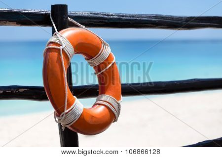 Lifebuoy Ring On Wooden Railing