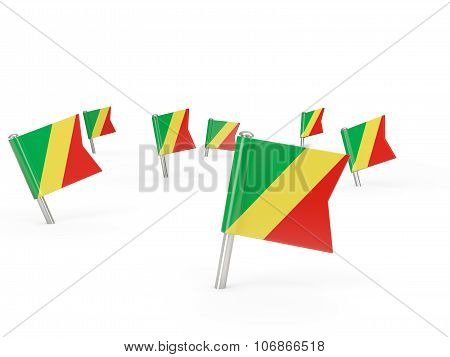 Square Pins With Flag Of Republic Of The Congo