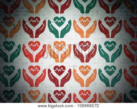 Insurance concept: Heart And Palm icons on Digital Paper background