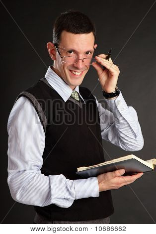 Businessman with the daily log