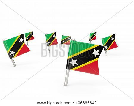 Square Pins With Flag Of Saint Kitts And Nevis