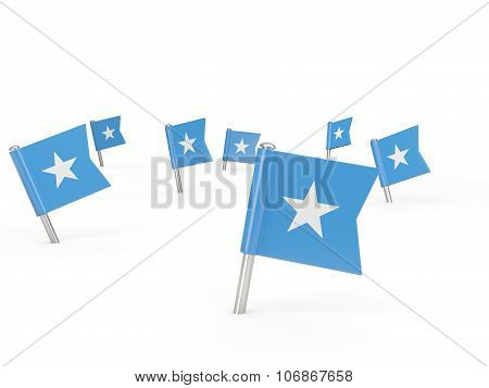 Square Pins With Flag Of Somalia