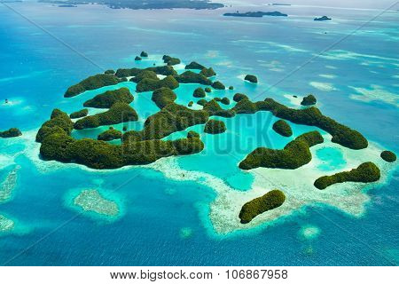 Beautiful view of 70 islands in Palau from above