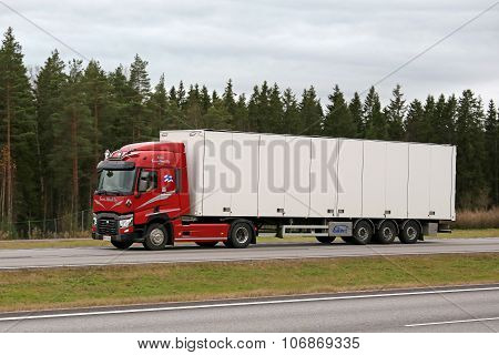 Red Renault Trucks T Semi On Motorway