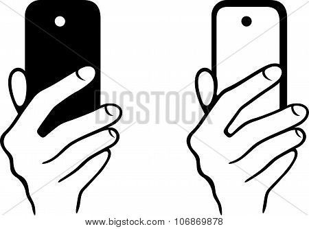 Taking a selfie photo on the smartphone