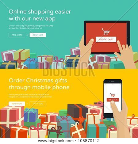 Online shopping with christmas gifts around - man hands holding tablet with add to cart button, flat design illustration