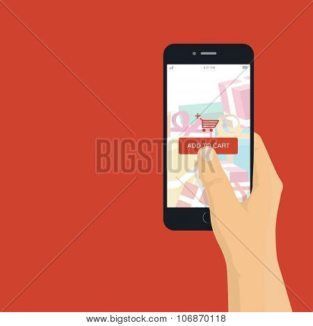 Online shopping on mobile phone - man holding mobile phone with add to cart button, flat design illustration