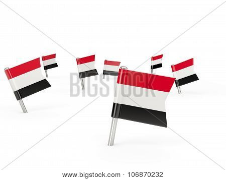 Square Pins With Flag Of Yemen