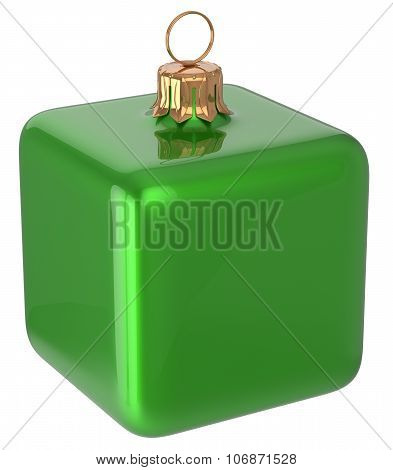 Christmas Ball Cube Geometric New Year's Eve Bauble Green