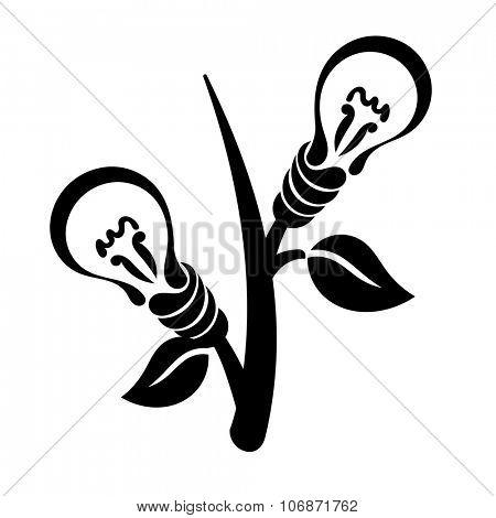 Abstract light bulb, vector logo, symbol of green energy