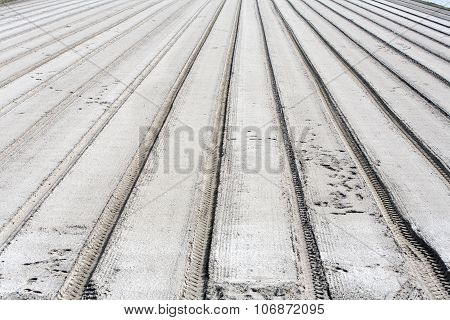 Parallel Tracks In Sand