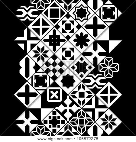 Black and white various moroccan tiles seamless border, vector