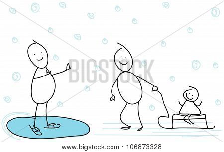 stick figure kids playing at Winter