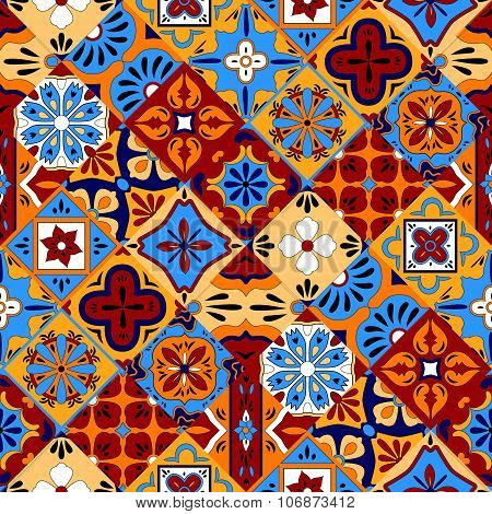 Mexican stylized talavera tiles seamless pattern in blue red and yellow, vector