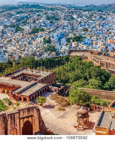 Jodhpur, Mehrangarh Fort And The Blue City.  Rajasthan, India