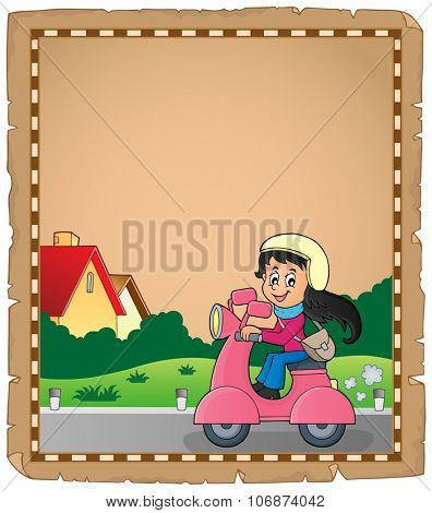 Parchment with girl on motor scooter - eps10 vector illustration.