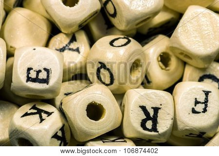 Macro Close-up Of Wooden Alphabet Beads