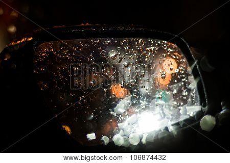 Car Wing Mirror At Night