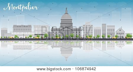 Montpelier (Vermont) city skyline with grey buildings, blue sky and reflections. Business travel and tourism concept with place for text. Image for presentation, banner, placard and web site.