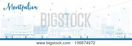 Outline Montpelier (Vermont) city skyline with blue buildings. Business travel and tourism concept with modern buildings. Image for presentation, banner, placard and web site.