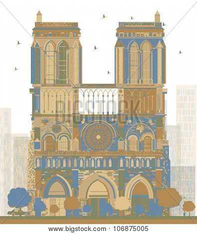 Notre Dame Cathedral - Paris. Business travel and tourism concept with historic building. Image for presentation, banner, placard and web site.
