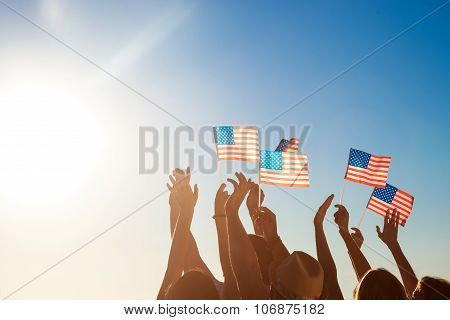 American flags. Patriots of America.