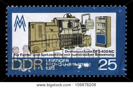 GDR - CIRCA 1973: a stamp printed in GDR shows Lathe Machine, Leipzig Spring Fair, circa 1973