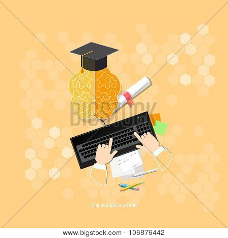 Online Education Diploma People Studying Online With Computers Vector Illustration Concept