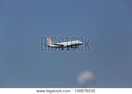 ZAGREB, CROATIA - JUNE 10: Airbus A320, registration 9A-CTK of Croatia Airlines landing on Zagreb Airport Pleso on June 10, 2015.