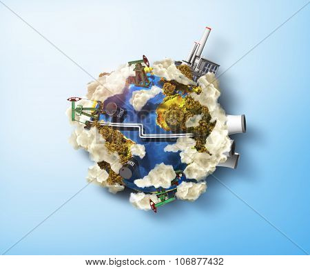 Concept Of Polution Enviroment. Oil Pump, Oil And Factory In The Planet With Dirty Clouds. Ecology.
