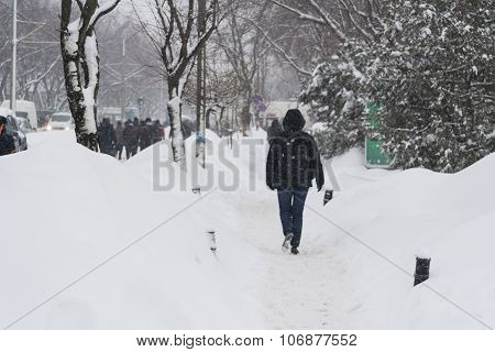 Bucharest - February 13 : Heavy Snowfall Of Nearly 60 Cm (2 Feet) On February 13, 2012 Has Paralyzed